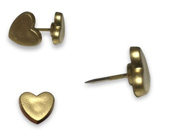 Gold Heart Push Pins, Priced 2 Dollars Per Push Pin, Used with Howdy Owl Maps, US Map shown in photos is not sold with this listing