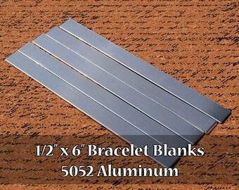 "50 - 5052 Aluminum 1/2"" x 6"" Bracelet Cuff or Bookmark Blanks - Polished Metal Stamping Blanks - 14G 5052 Aluminum - Flat"