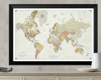 Push Pin Travel Map. Updated for 2017.  Modern World Map with Push Pins. Framed, Mounted and Ready to Hang. 24x36 Map.