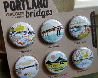 Portland Bridges II One Inch Super Strong Magnets Set of Six