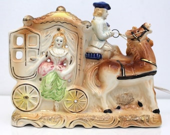 Vintage Tilso Japan Hand Painted TV Lamp Horse Carriage Ceramic + Free Shipping