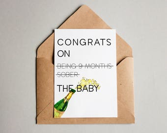 New Baby Card/ Baby's Birth/ Pregnancy Card/ Baby Shower Gift/ Funny Pregnancy Card/ Birth Card/ Congrats Card/ New Mom Card/ Baby Card