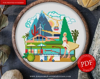 Palm Springs Cross Stitch Pattern for Instant Download *P075 | Easy Cross Stitch| Counted Cross Stitch|Embroidery Design| City Cross Stitch