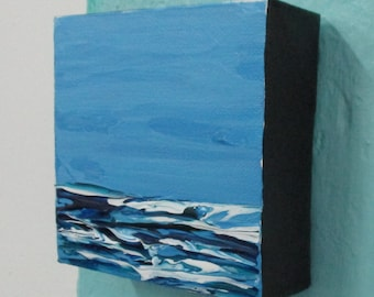 Original Painting Abstract Acrylic Seascape 4 x 4 Western Avenue Studios Massachusetts Artist 30 Paintings in 30 Days Essay on the Sea 817
