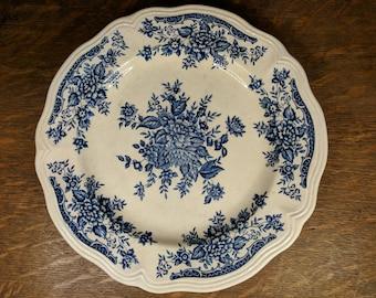 Federalist Ironstone Blue Carnation Plate