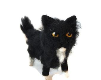 Black and white cat ornament,  Custom kitten Sculpture, Tuxedo cat art. Halloween cat Figurine made to order - small size