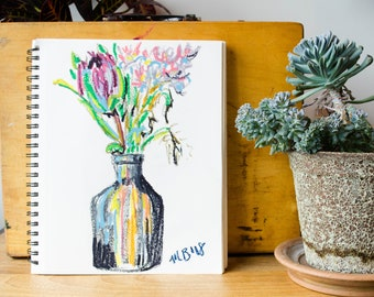 Flower Vase Drawing with Oil Pastels