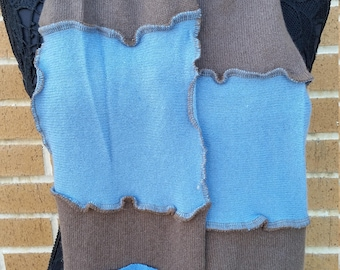 Blue & Gray 100% Cashmere Scarf Upcycled Recycled Handmade