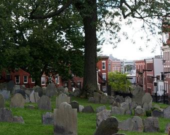 Tombstones, Boston Cemetery, North End Landscape, Historical Site - 6x9 Fine Art Photograph