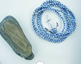 Nautical 18 cm - Navy anchor - Variation of blue and white bracelet