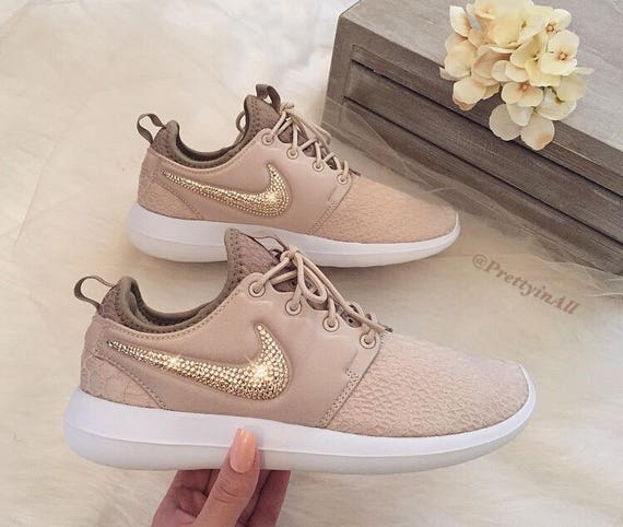 Bling Nike Roshe Two SE Oatmeal Shoes with Rose Gold Swarovski Crystals