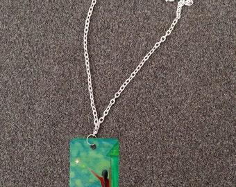Collier de retable de l'Art populaire - produit avantage Animal Rescue, lune et étoiles, Reach For The Stars, lac bleu vert dans la nuit, métal Dog Tag