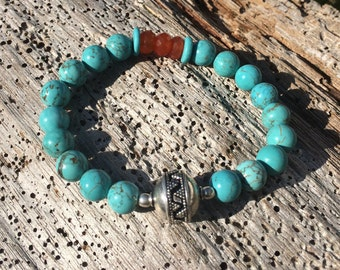 Southwestern Turquoise and Carnelian beaded bracelet