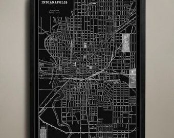 INDIANAPOLIS Map Print, Black and White Indianapolis Wall Decor