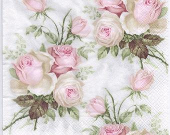 Decoupage Napkins | Pastel Rose Bouquet | Design Dinner Napkins  | Wedding Napkins | Paper Napkins for Decoupage