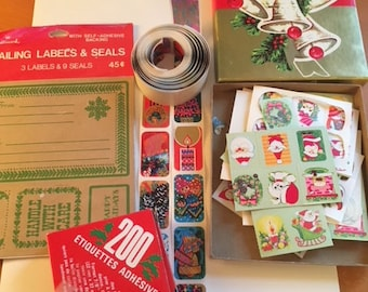 Vintage 70s Christmas  Hallmark Labels Regal Stickers Dennison Box Green Red