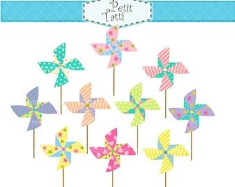 ON SALE Pinwheels clip art - pinwheel clipart, Digital clip art for all use ,Instant Download Clip Art