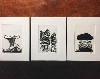 Set of 3 Wild Mushroom Block Prints - Chanterelle, Morel, Bolete (Porcini)
