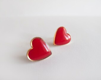 Red Heart Stud Earrings - Bridesmaid Gifts - Hypoallergenic Surgical Steel Posts