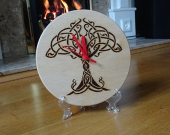Hand engraved tree of life wooden clock