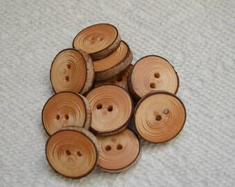 """Boutons en bois boutons en bois, boutons de branche d'arbre de pruche crochet boutons col boutons quantité de 10... boutons 7/8"""" lot #2"""