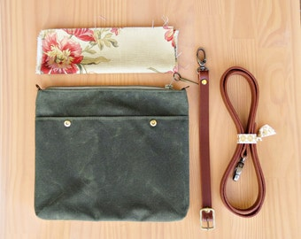Waxed Canvas Crossbody Messenger Bag in Avocado Green with Floral Lining, Cross Body Purse with Leather Strap, Small Handmade Travel Bag