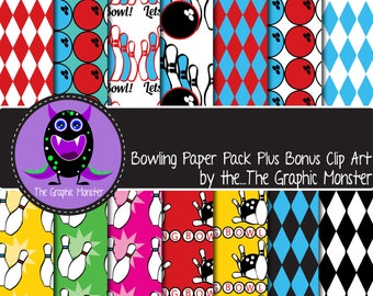 Bowling Themed Scrapbook Paper, Bowling Clip Art, Digital Bowling Paper, Scrapbook Paper Bowling, Bowling Paper, Bowling Clip Art