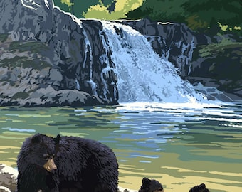 Bear Family and Waterfall (Art Prints available in multiple sizes)