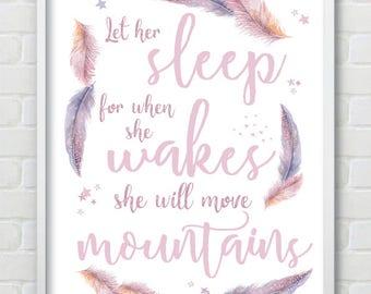 Feather Let Her Sleep Baby Girl Nursery Print