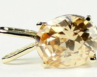 Champagne CZ, 14KY Gold Pendant, P002