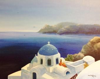 Santorini Greek Isles Holiday Painting