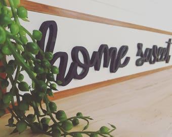 Home sweet home 3d hand cut wooden sign