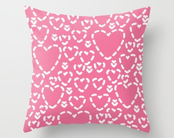Pink Hearts Pillow with insert Cover - Modern Throw Pillow with insert - Home Decor - By Aldari Home