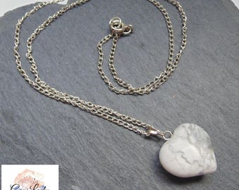 Howlite Heart Silver Plated Necklace ~ Gemstone Crystal Healing ~ Handmade Ooak
