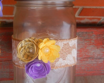 Custom Handmande Mason Jar Wrap* Burlap and Lace* Paper Flowers* Available in any colors*