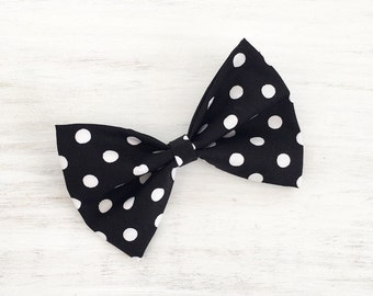 Rockabilly Pin Up Black & White Polka Dot Hair Bow on clip