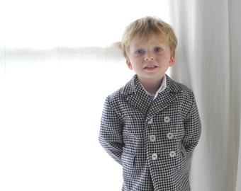 Vintage Baby Clothes, 1960's Wool Navy and White Houndstooth Baby Boy Coat, Vintage Baby Coat, Fall Baby Coat, Winter Baby Coat, Size 3T