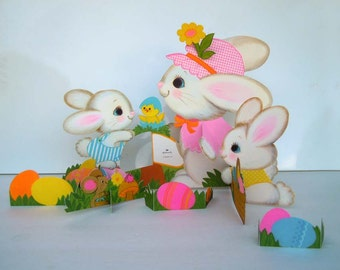 Vintage 1980s Easter Bunny Rabbit Table Decoration 10 inch Hallmark Centerpiece