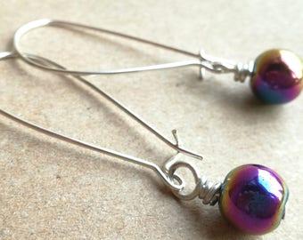 Starry starry night rainbow hematite drop earrings for hope