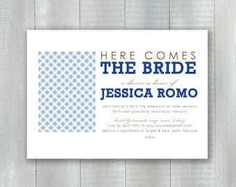 Gingham Bride PDF Invitation