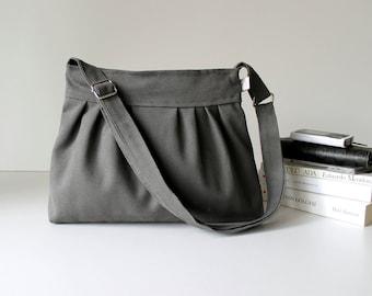 Last ONE Bags Purses, Handbag, Grey Bag, Everyday bag, Daily Bag, Practic Bag, Pleated Bag in Olive Grey, Small, medium, ZIPPERED CLOSURE