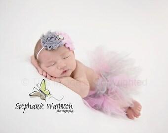 Newborn Tutu Set, Baby Tutu Set, Tutu Skirt, Photo Prop, Tutu and Headband Set, Newborn Tutu, newborn photo prop, pink and gray tutu set,