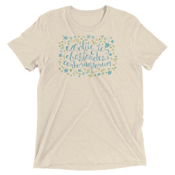 Don't Let the Bastards Grind you Down - Blue Floral - Short sleeve t-shirt