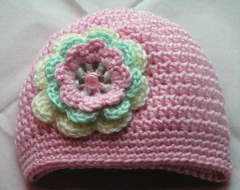 Baby hat with triple flower trim for infants to adults - Josette Irene