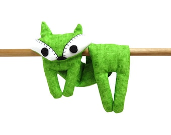 Flat Fox Neck Rice Heat Pad - Hot Cold Rice Bag - Microwave Neck Wrap - Rice Heating Pad - Hot Cold Therapy Pack - Lime Green & White Fox