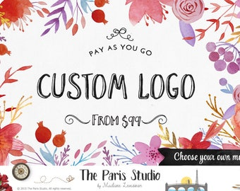 Watercolor Floral Logo Design Pay As You Go Custom Logo Design Website Logo Blog Logo Business Branding Logo Boutique Logo Deer Floral Logo