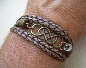 Mens Leather Bracelets Double Infinity Leather Bracelet with Antique Bronze Hardware Infinity Bracelet Infinity Womens Bracelet Mens Jewelry