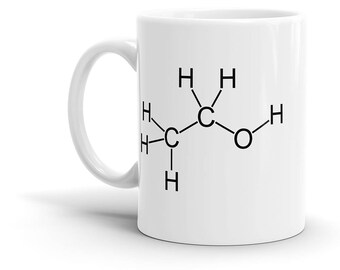Alcohol Molecule Coffee Mug, Ethanol, Beer, Drinking, Bar, Chemistry, Schematic, Cool Gift!