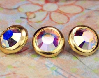 10 Aurora Borealis Crystal Hair Snaps - Round Gold Rim Edition -- Made with Swarovski Crystal Element Rhinestones
