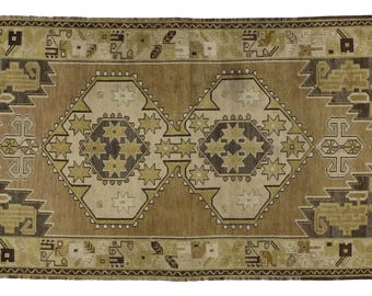 Vintage Turkish Oushak Carpet Runner with Mid-Century Modern Style in Warm Earth-Tone Colors, 4' x 8'1